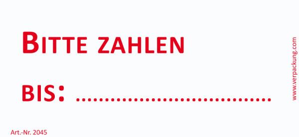 Bedruckte Haftnotiz - Bitte zahlen bis  weiß/rot