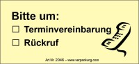Bedruckte Haftnotiz - Bitte um  o Terminvereinbarung  o Rückruf  gelb/schwarz