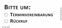 Bedruckte Haftnotiz - Bitte um  o Terminvereinbarung  o Rückruf  weiß/schwarz