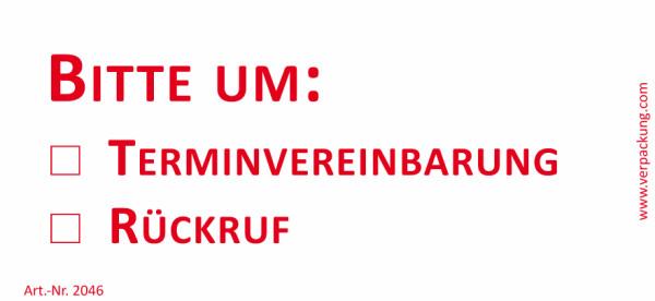Bedruckte Haftnotiz - Bitte um  o Terminvereinbarung  o Rückruf  weiß/rot