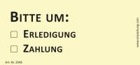 Bedruckte Haftnotiz - Bitte um o Erledigung  o Zahlung  gelb/schwarz