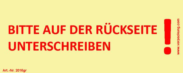Bedruckte Haftnotiz - Bitte auf der Rückseite unterschreiben!  gelb/rot