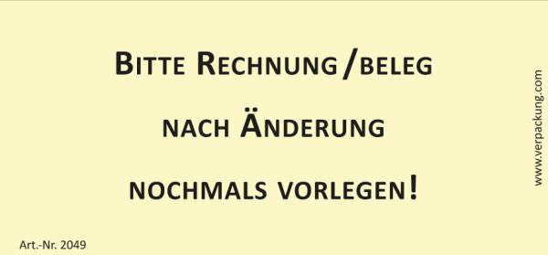 Bedruckte Haftnotiz - Bitte Rechnung/Beleg nach Änderung nochmals vorlegen!  gelb/schwarz