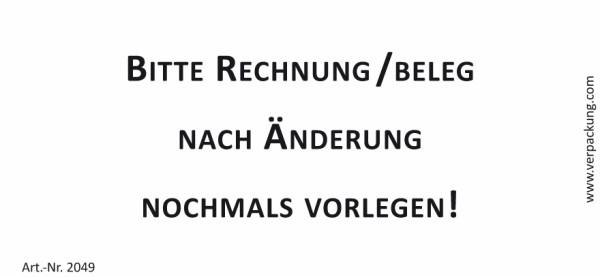 Bedruckte Haftnotiz - Bitte Rechnung/Beleg nach Änderung nochmals vorlegen!  weiß/schwarz