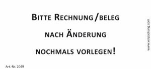 Bedruckte Haftnotiz - Bitte Rechnung/Beleg nach...