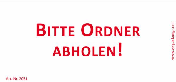 Bedruckte Haftnotiz - Bitte Ordner abholen! weiß/rot