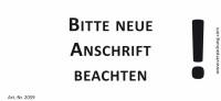 Bedruckte Haftnotiz - Bitte neue Anschrift beachten!  weiß/schwarz