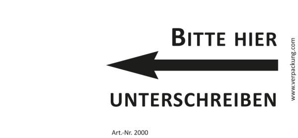 Bedruckte Haftnotiz - Bitte hier unterschreiben (Pfeil links) weiß/schwarz