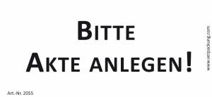 Bedruckte Haftnotiz - Bitte Akte anlegen! weiß/schwarz