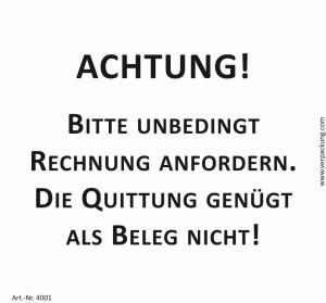 Bedruckte Haftnotiz - Achtung! Bitte unbedingt Rechnung...