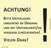 Bedruckte Haftnotiz - Achtung! Bitte Unterlagen umgehend im Original und mit Unterschrift versehen zurücksenden!  gelb/schwarz