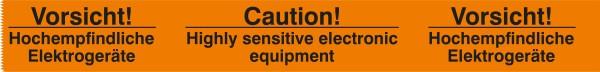 """Warnband """"Vorsicht hochempfindliche Geräte"""" - 50 mm x 66 lfm - PP Folie orange/schwarz"""
