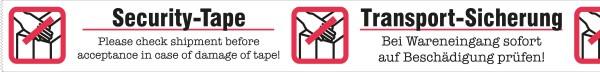 "Warnband ""Transportsicherung / Securitytape"" - 50 mm x 66 lfm PP weiss/rot/schwarz"