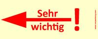 Bedruckte Haftnotiz - Sehr wichtig! (Pfeil nach links) gelb/rot