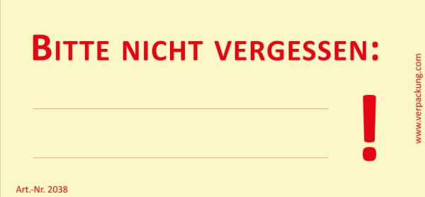 Bedruckte Haftnotiz - Bitte nicht vergessen:...! gelb/rot