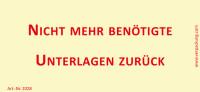 Bedruckte Haftnotiz - Nicht mehr benötigte Unterlagen zurück gelb/rot