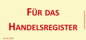 Bedruckte Haftnotiz - Für das Handelsregister gelb/rot