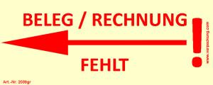 Bedruckte Haftnotiz - Beleg/Rechnung fehlt (Pfeil nach...