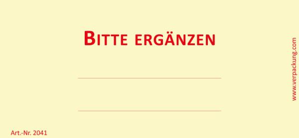 Bedruckte Haftnotiz - Bitte ergänzen gelb/rot