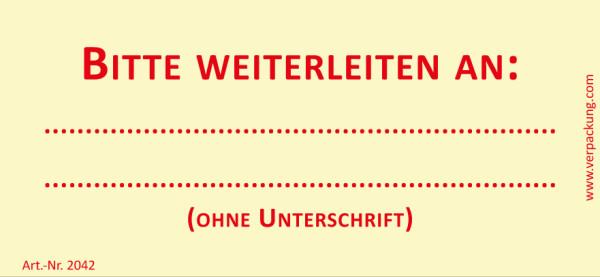 Bedruckte Haftnotiz - Bitte weiterleiten an  gelb/rot
