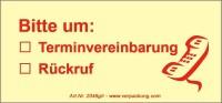 Bedruckte Haftnotiz - Bitte um  o Terminvereinbarung  o Rückruf  gelb/rot