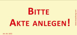 Bedruckte Haftnotiz - Bitte Akte anlegen!  gelb/rot