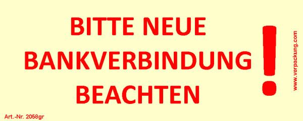 Bedruckte Haftnotiz - Bitte neue Bankverbindung beachten!  gelb/rot