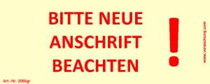 Bedruckte Haftnotiz - Bitte neue Anschrift beachten!...