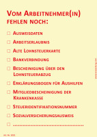 Bedruckte Haftnotiz - Vom Arbeitnehmer(in) fehlen noch: (10fache Auswahl) gelb/rot
